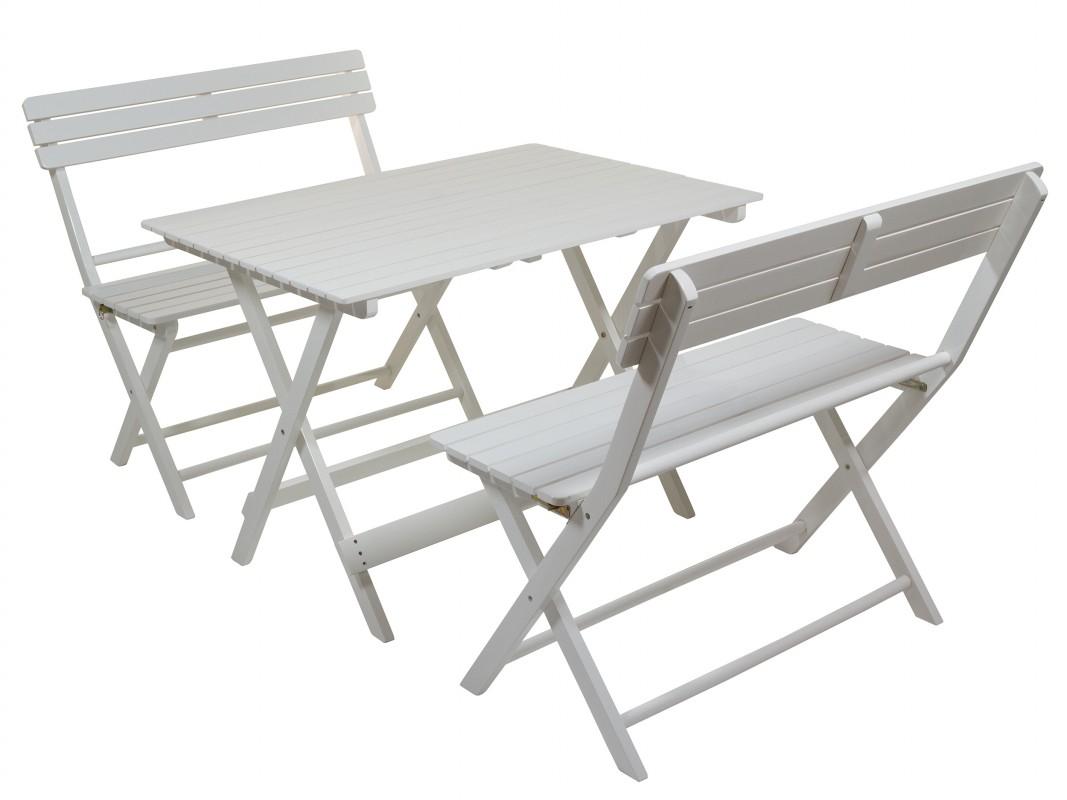 Mesa con bancos jard n blancos de madera de lamo for Mesa y banco de jardin