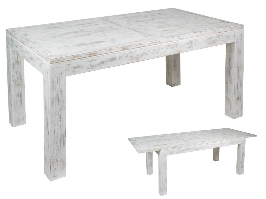 mesa blanca vintage extensible de madera con efecto decapado