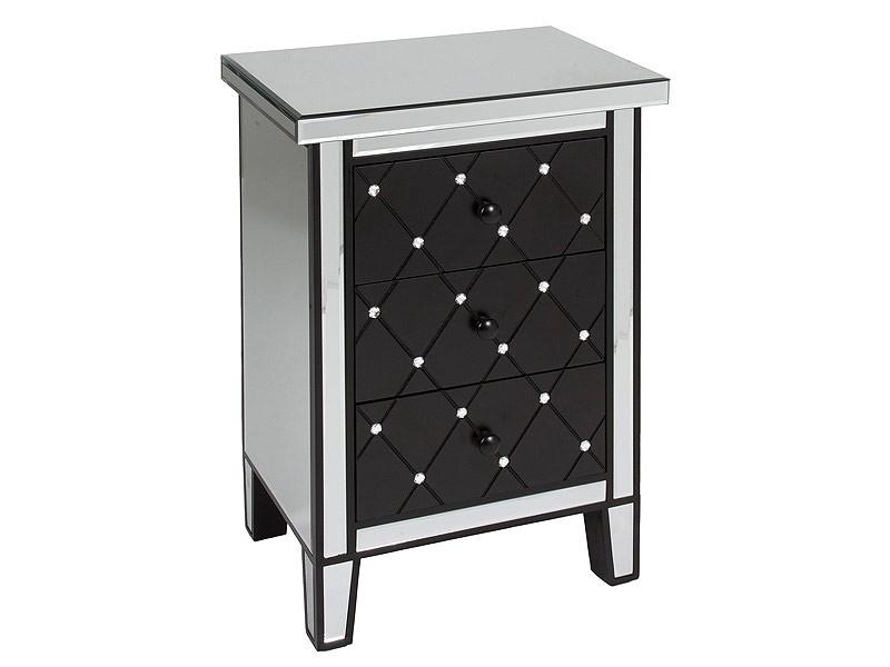 mesa auxiliar con 3 cajones realizada en madera y espejo