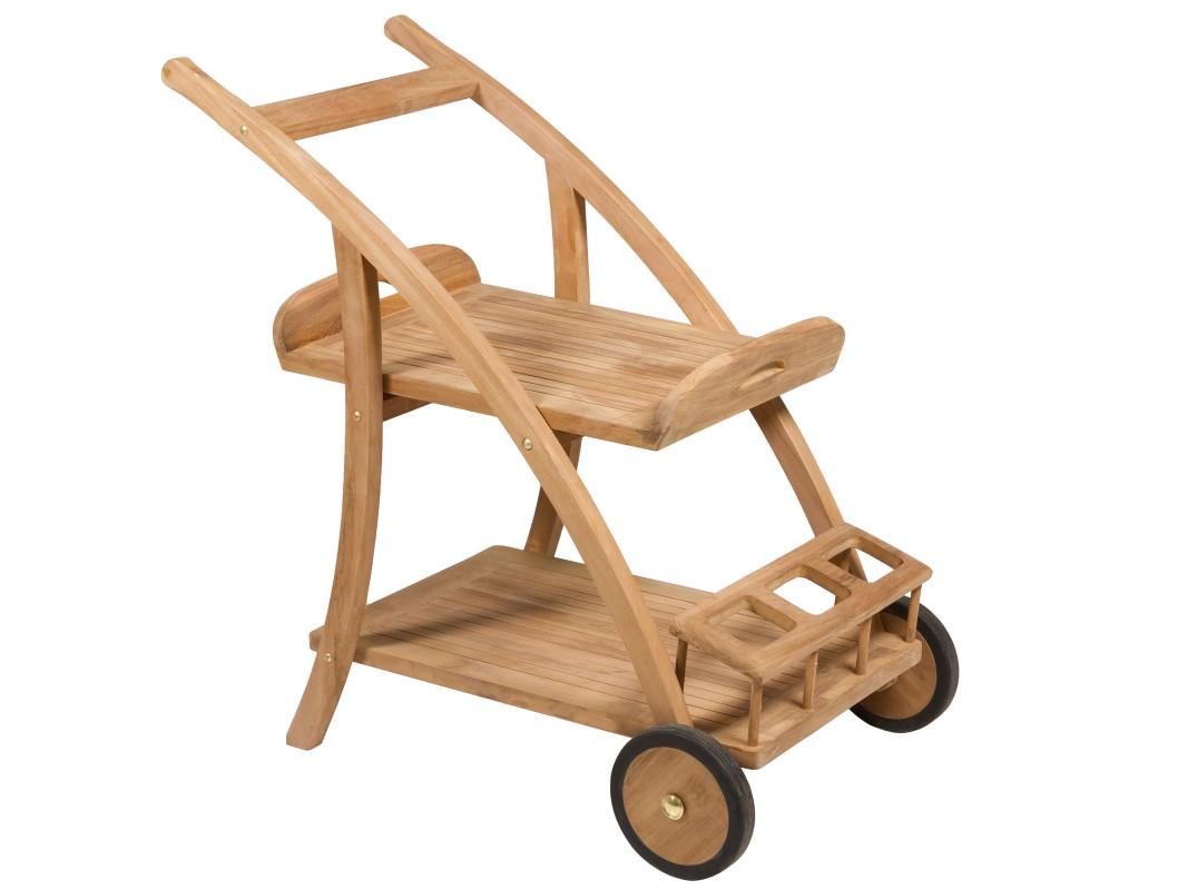 Mesita camarera de teca con 2 ruedas para terraza o jard n for Carritos de madera para jardin