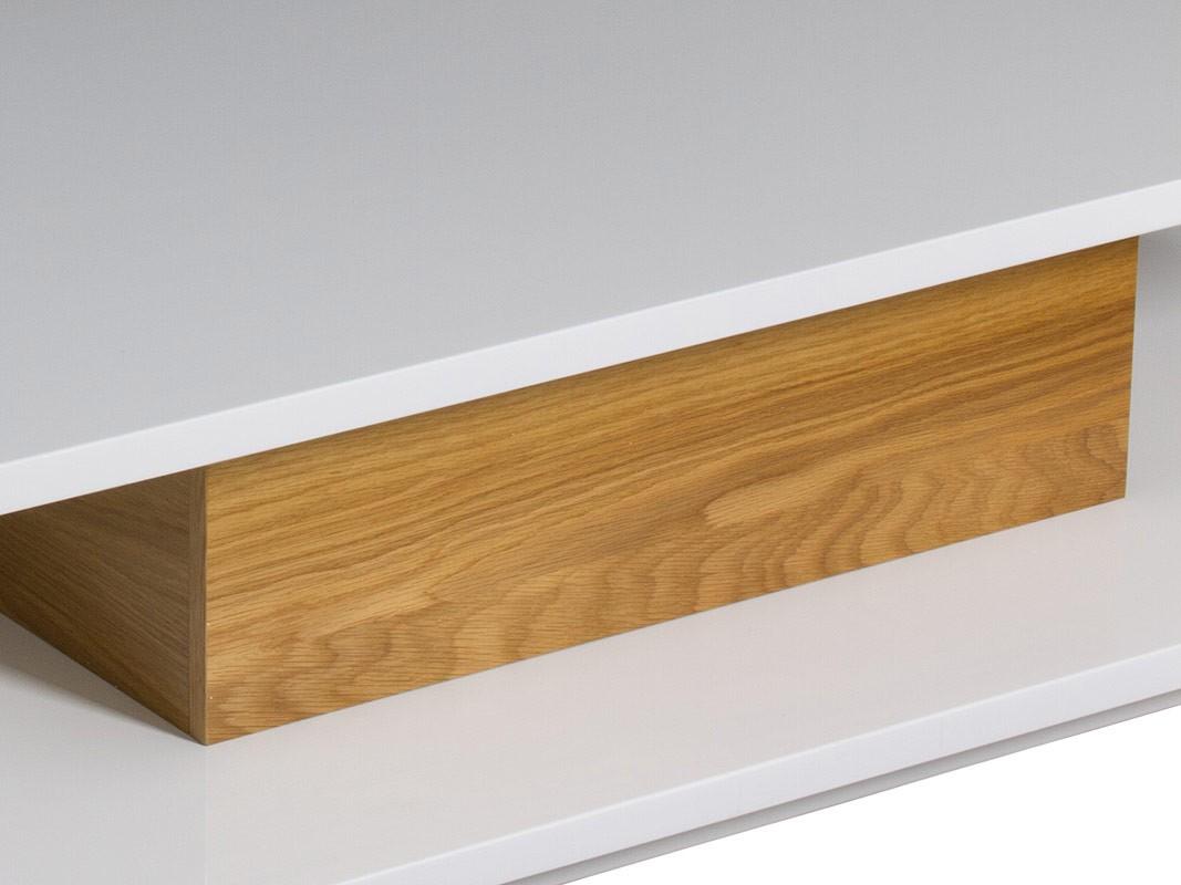 Mesa centro baja con doble tablero en color blanco y madera - Tablero blanco ...