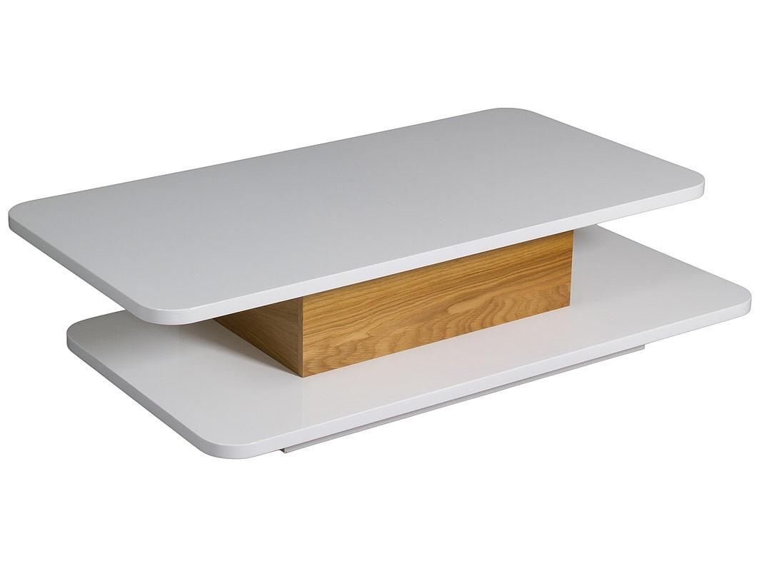 Mesa centro baja con doble tablero en color blanco y madera for Mesas para esquinas