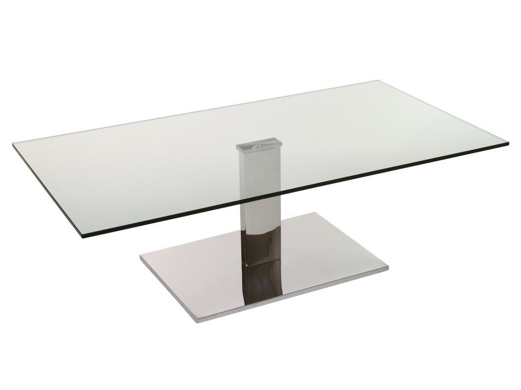 Mesa de centro moderna minimalista de acero y cristal transparente - Mesa centro transparente ...