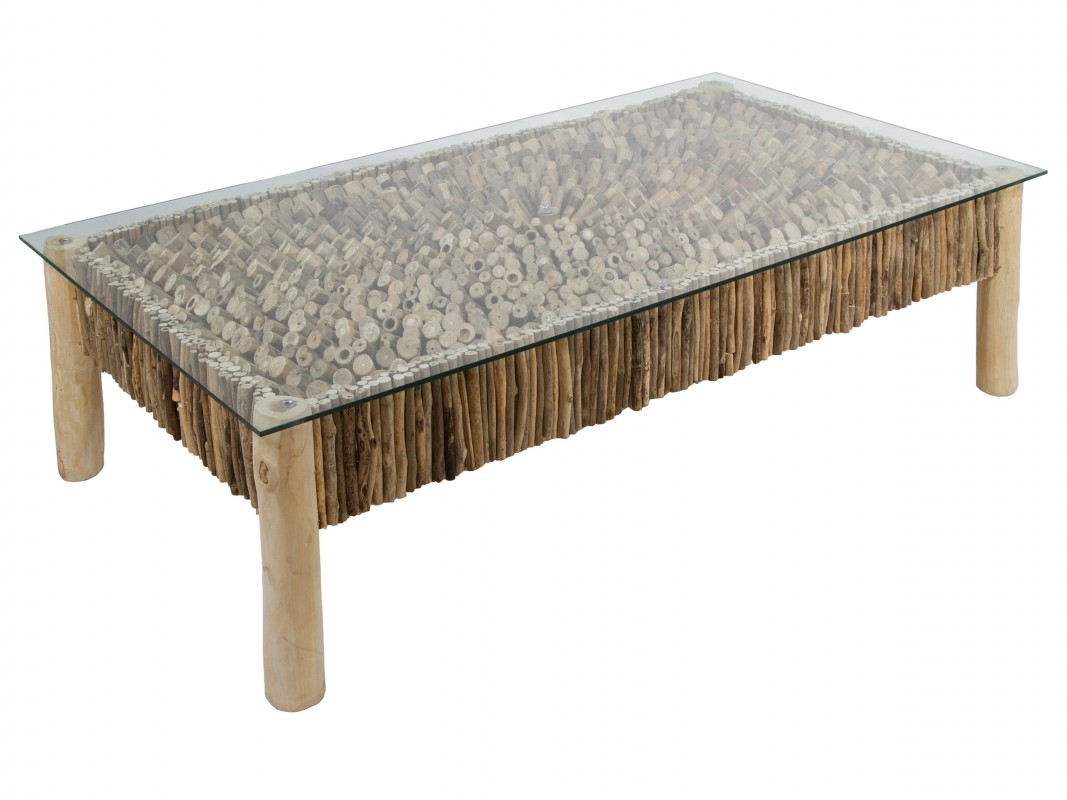 Mesa de troncos de madera de mindi con soporte de cristal for Mesas de troncos de arboles