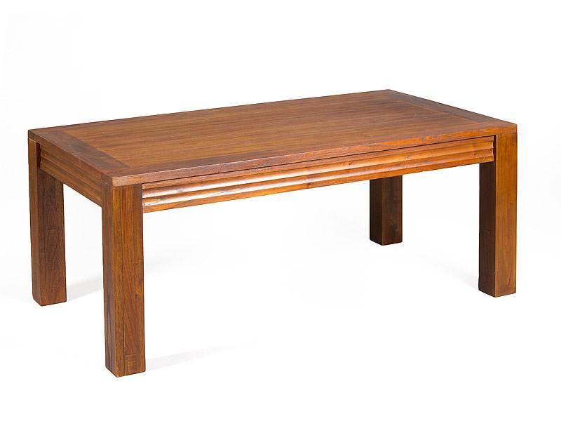 Mesa de centro colonial de madera color nogal for Mesas estilo colonial