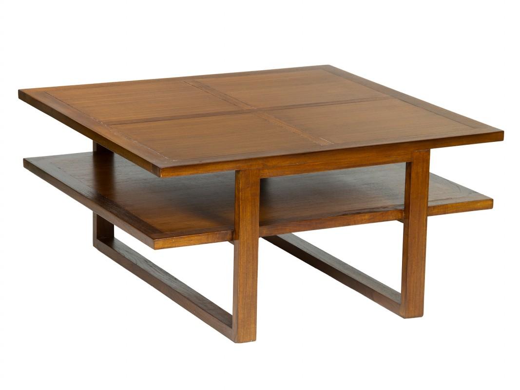 Mesa de centro colonial peque a con doble balda de madera for Mesas cuadradas extensibles de madera