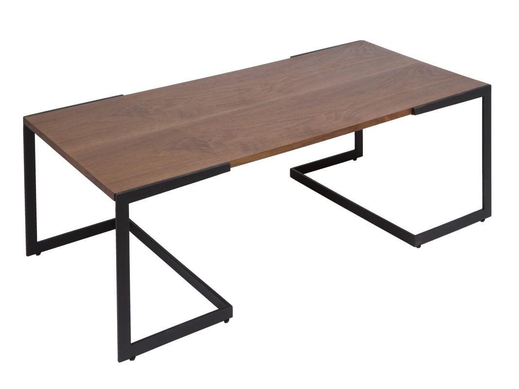 Mesa de centro contempor nea de hierro y madera color nogal for Mesas de hierro forjado y madera