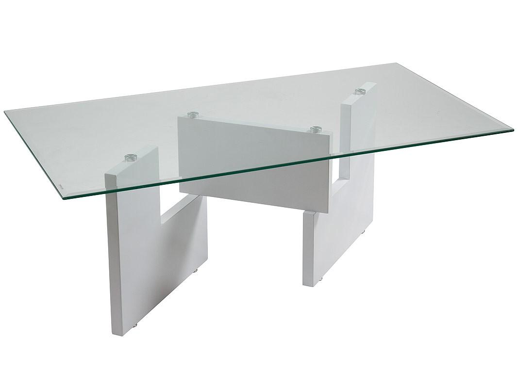 Mesa de centro cristal y dm lacado en blanco sobre base for Mesas de salon de cristal