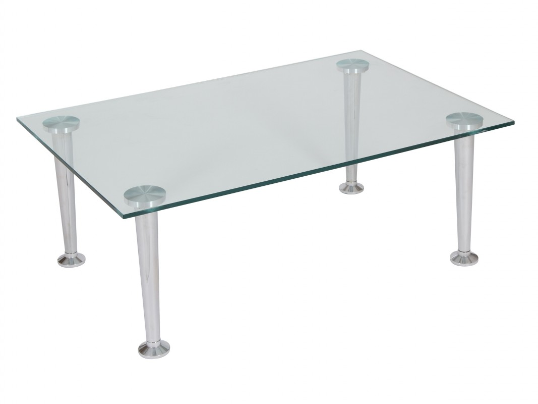 Mesita de centro de cristal y acero cromado mesas sal n Mesas de cristal pequenas