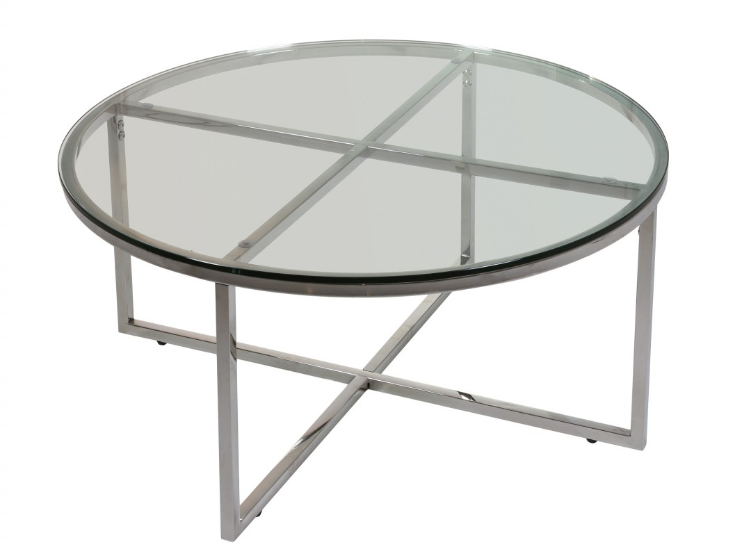Mesa centro cristal redonda con estructura de hierro - Mesa centro redonda ...