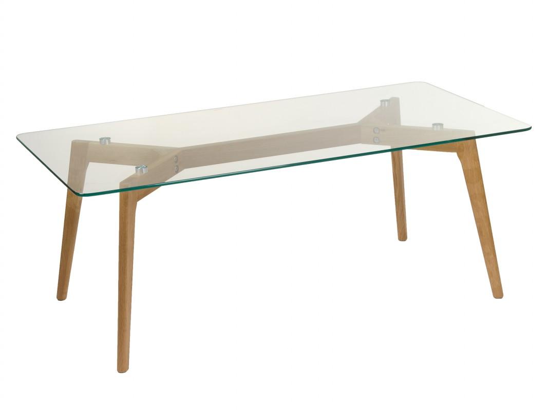 Mesa de centro de cristal templado y madera de roble for Centro de mesa de cristal