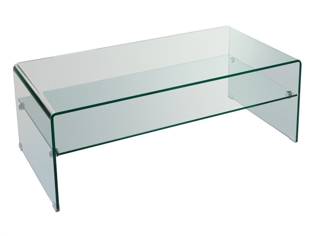Mesa de centro de vidrio transparente con balda estilo moderno for Centro de mesa de cristal