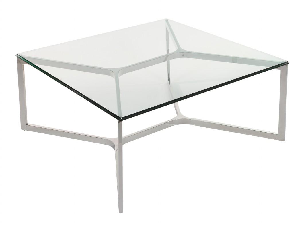 Mesa de centro acero y cristal cuadrada estilo moderno for Mesas de centro de diseno de cristal
