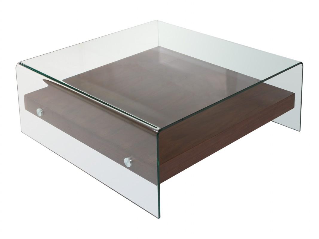 Mesa de centro cuadrada moderna de cristal transparente y dm for Mesas de centro en vidrio