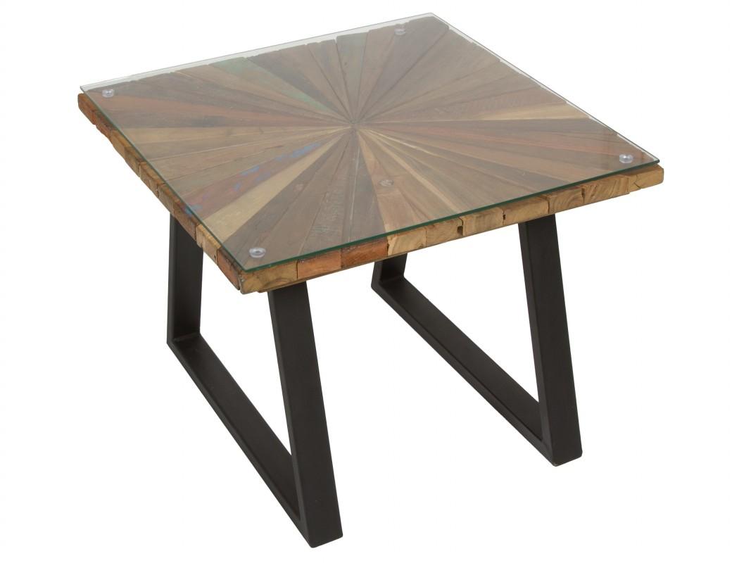 Mesa de centro 60x60 de hierro madera y tapa de cristal for Mesa centro madera