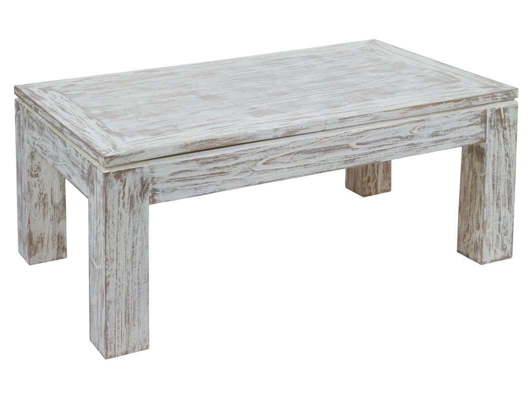 Mesa de centro decapada en blanco elevable madera estilo vintage