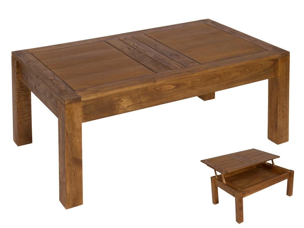 Mesa de centro elevable de madera de mindi muebles sal n - Mesa centro elevable y extensible ...