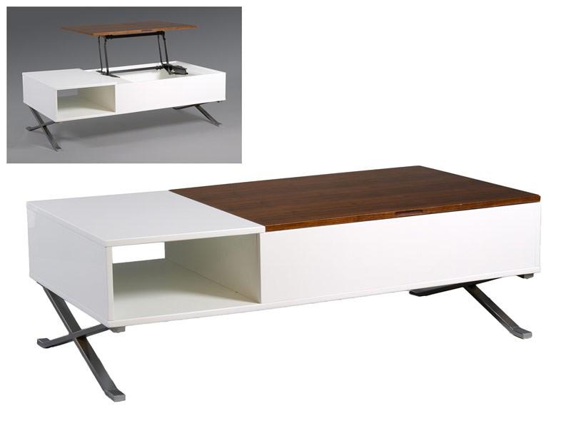 Mesa centro elevable con soporte de madera y hueco interior - Mesa centro elevable y extensible ...
