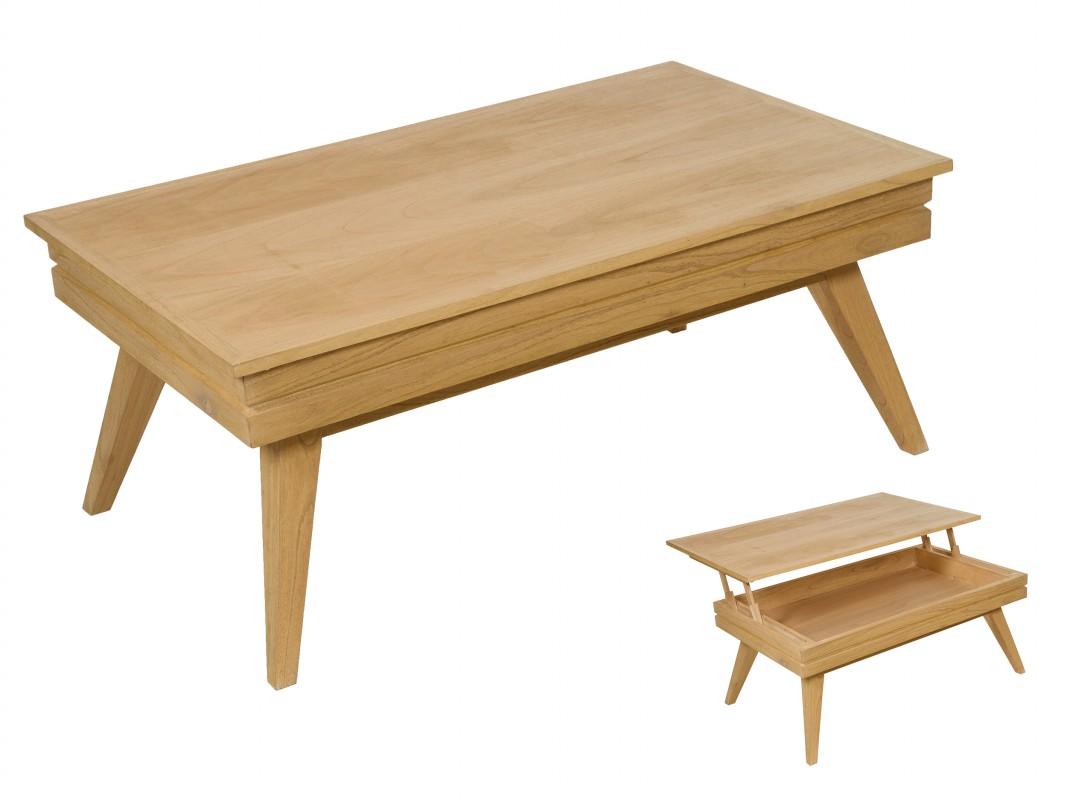 Mesa centro elevable roble de madera de mindi con almacenaje - Mesa de centro elevable ...