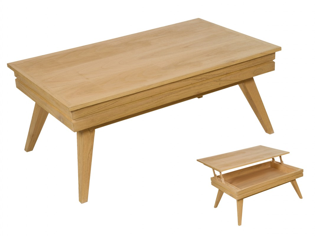 Mesa centro elevable roble de madera de mindi con almacenaje