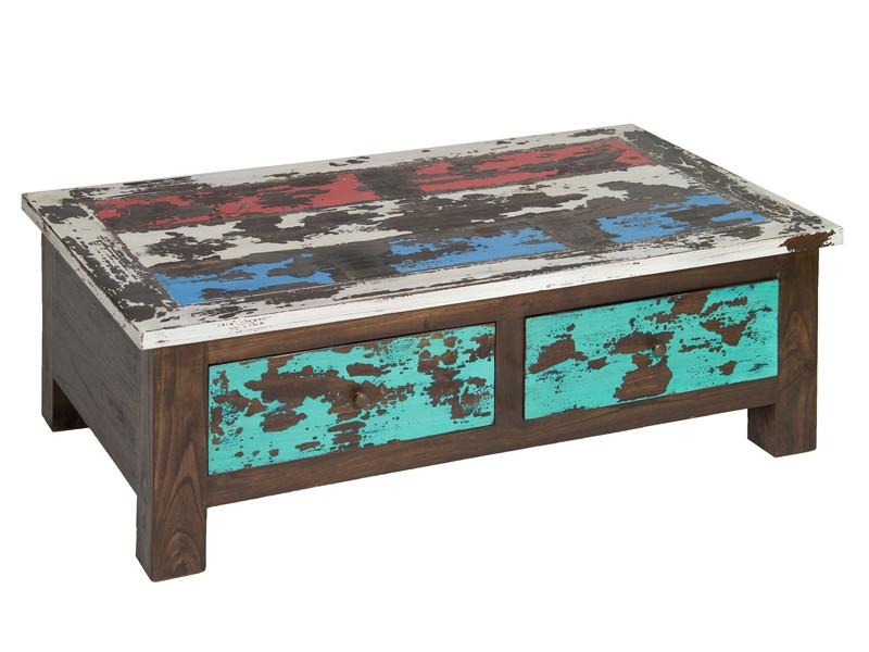 Mesa de centro envejecida en colores vintage decoraci n - Mesas de centro de colores ...