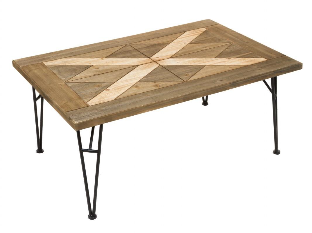 Mesa de centro de forja y madera de abeto estilo industrial - Mesa de forja ...