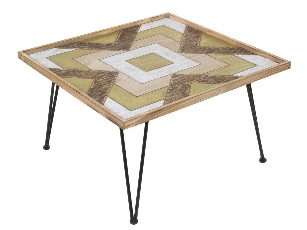 Mesa de centro colores cuadrada de madera de abeto con - Patas para mesas ...