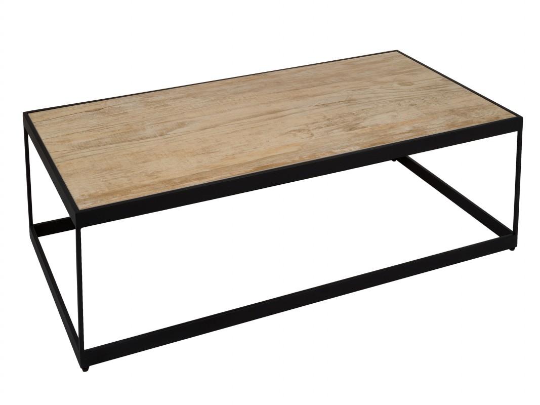 Mesa de centro hierro y cer mica color negro y roble - Mesa centro madera y hierro ...