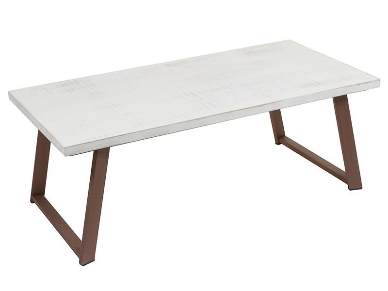 Mesa centro industrial blanca tiza y marr n de hierro y for Mesa blanca y madera