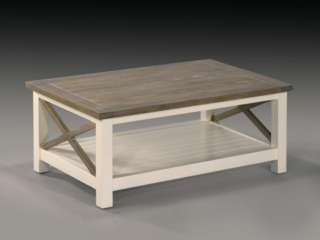 Mesa de centro de madera de teca Danish con soporte inferior