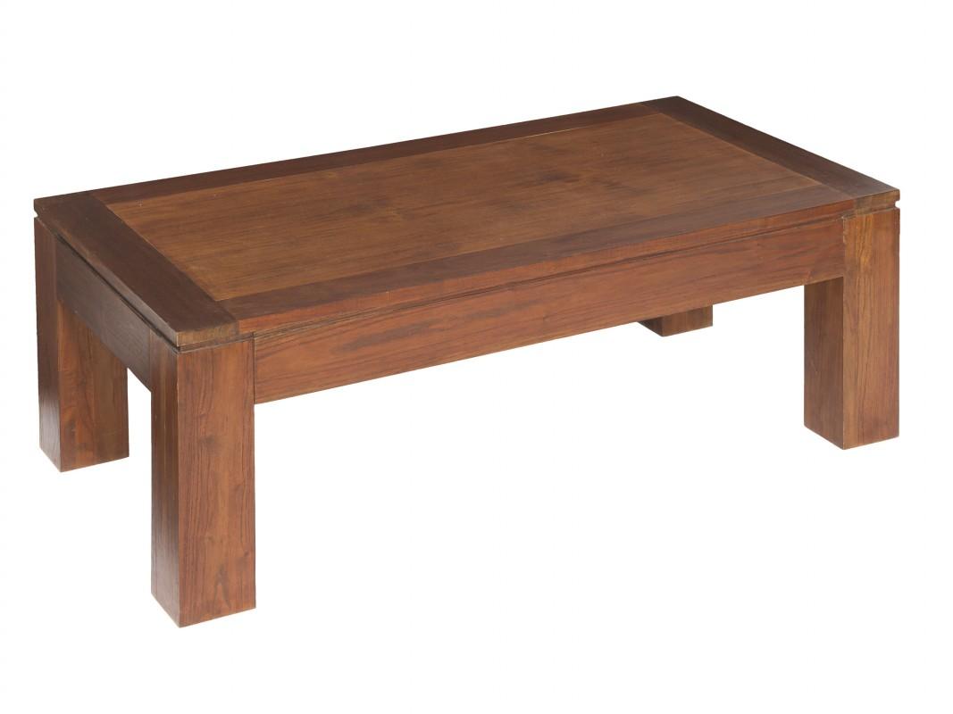 Mesa de centro estilo r stico de madera de mindi for Mesa centro madera