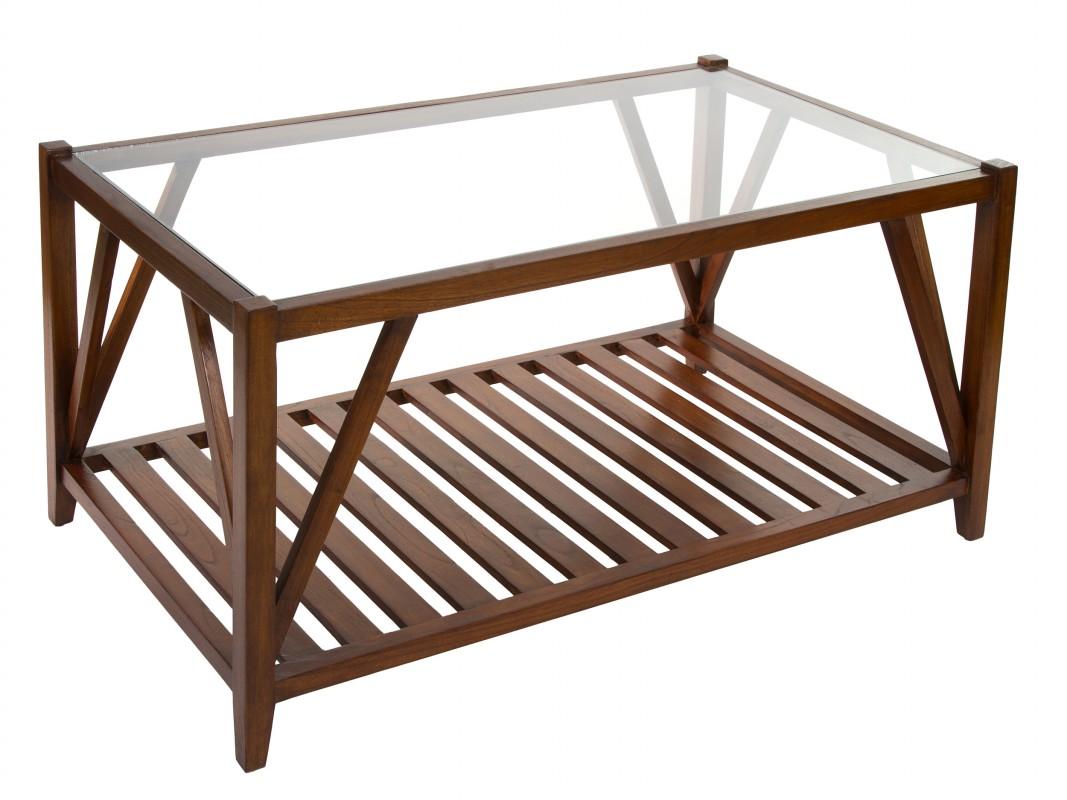 Mesa de centro de madera y cristal con balda estilo colonial for Mesas de madera con cristal