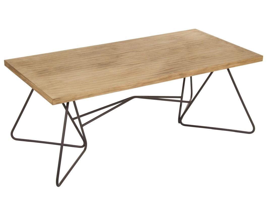 Mesa de centro de madera y hierro estilo industrial for Mesa centro madera