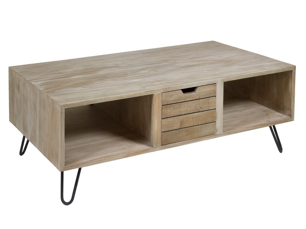 Mesa ratona industrial de madera con patas de hierro for Patas de hierro para mesas