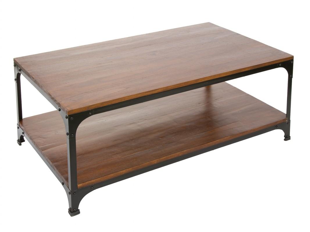Mesa living de madera y metal para sal n o sala de estar for Mesas de madera para sala