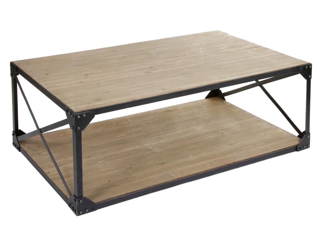 Mesa de centro madera de abeto y hierro estilo industrial for Mesa de centro industrial