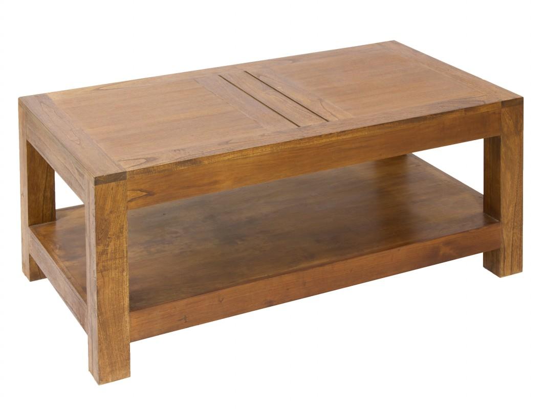 Mesa centro r stica de madera con estante o balda inferior for Mesas de salon de madera