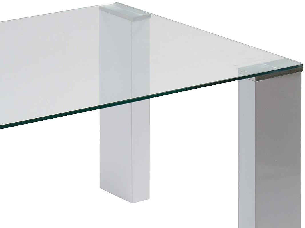 Mesa centro moderna con tablero de cristal y 4 patas dm blanco for Mesa cristal moderna