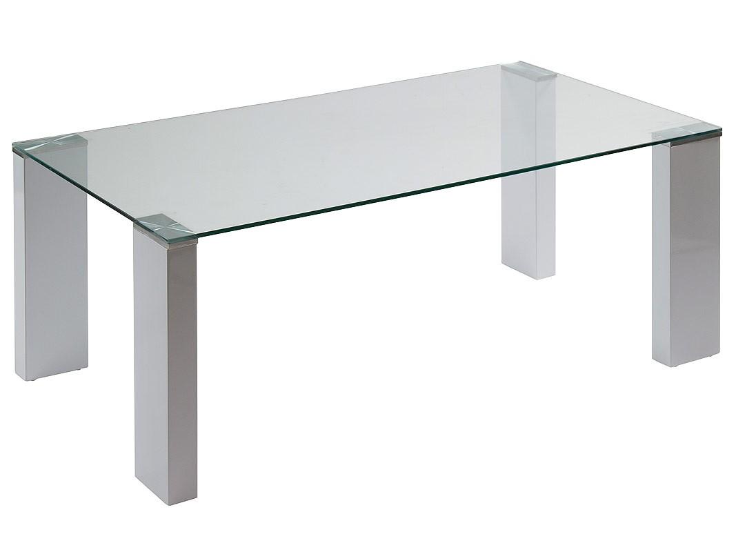 Mesa centro moderna con tablero de cristal y 4 patas dm blanco for Mesas de salon de cristal