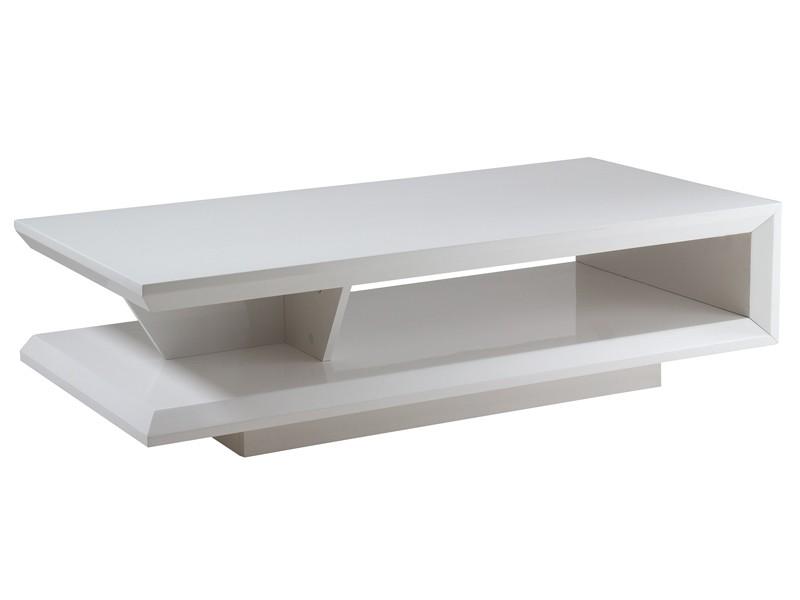 Mesa de centro moderna blanca lacada muebles para sal n for Mesas de salon blancas