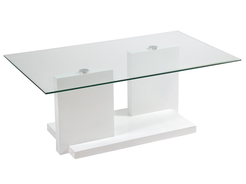 Mesa de centro moderna color blanco de cristal y mdf for Mesas esquineras modernas
