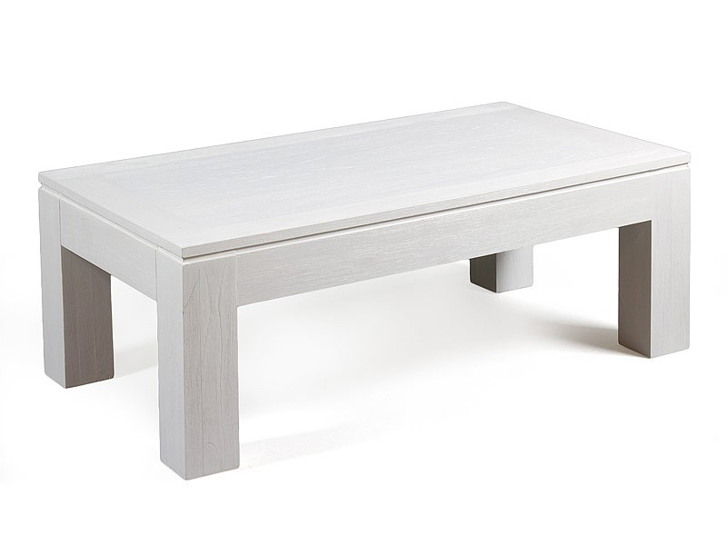 Mesa centro blanca en madera de mindi for Mesa blanca y madera