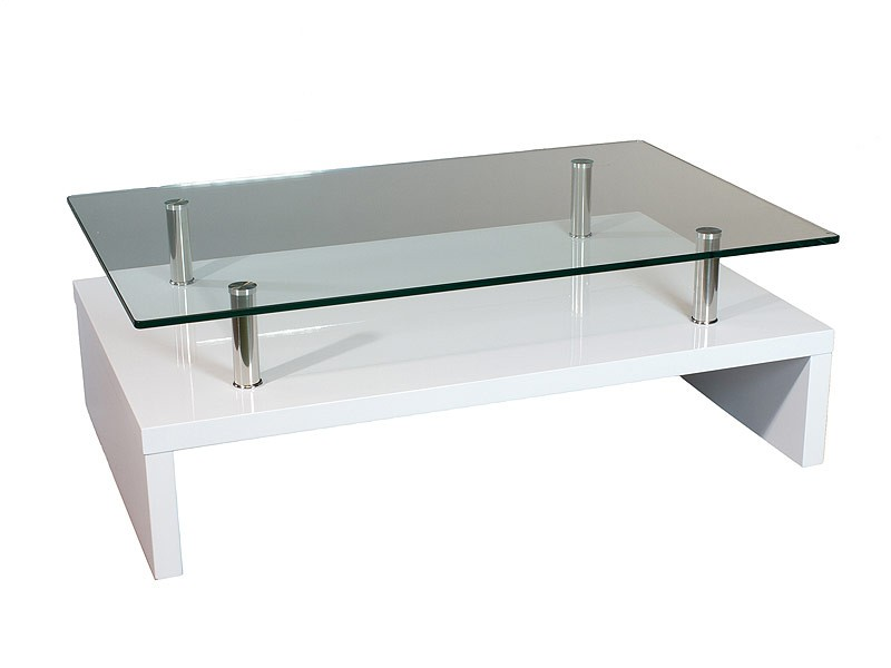 Mesa de centro de dis o moderno y actual blanco y cristal for Mesa diseno cristal