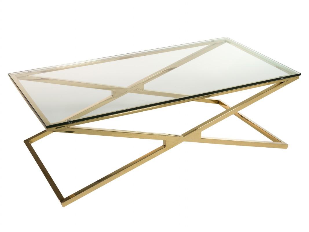 Mesa de centro dorada de acero inoxidable y cristal templado for Mesa cristal y dorado