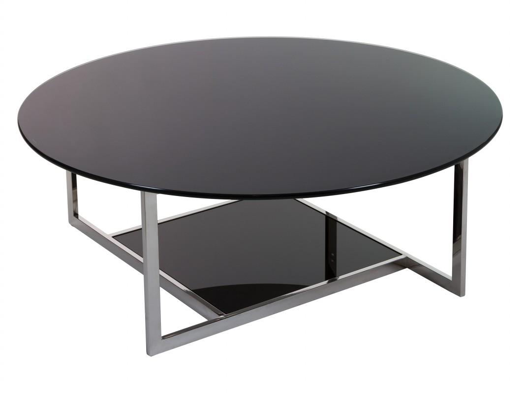 Mesa centro redonda de dise o en vidrio templado color negro for Mesa diseno cristal