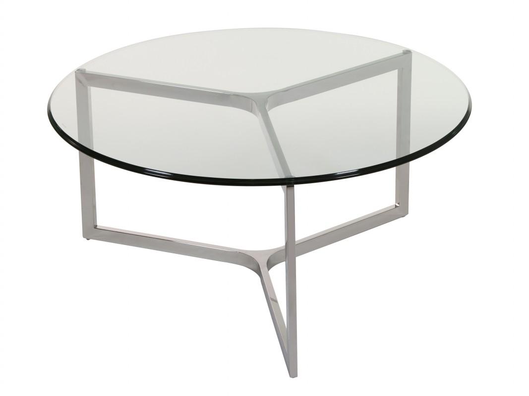 Mesa de centro redonda moderna de cristal templado y acero for Mesas de vidrio de diseno