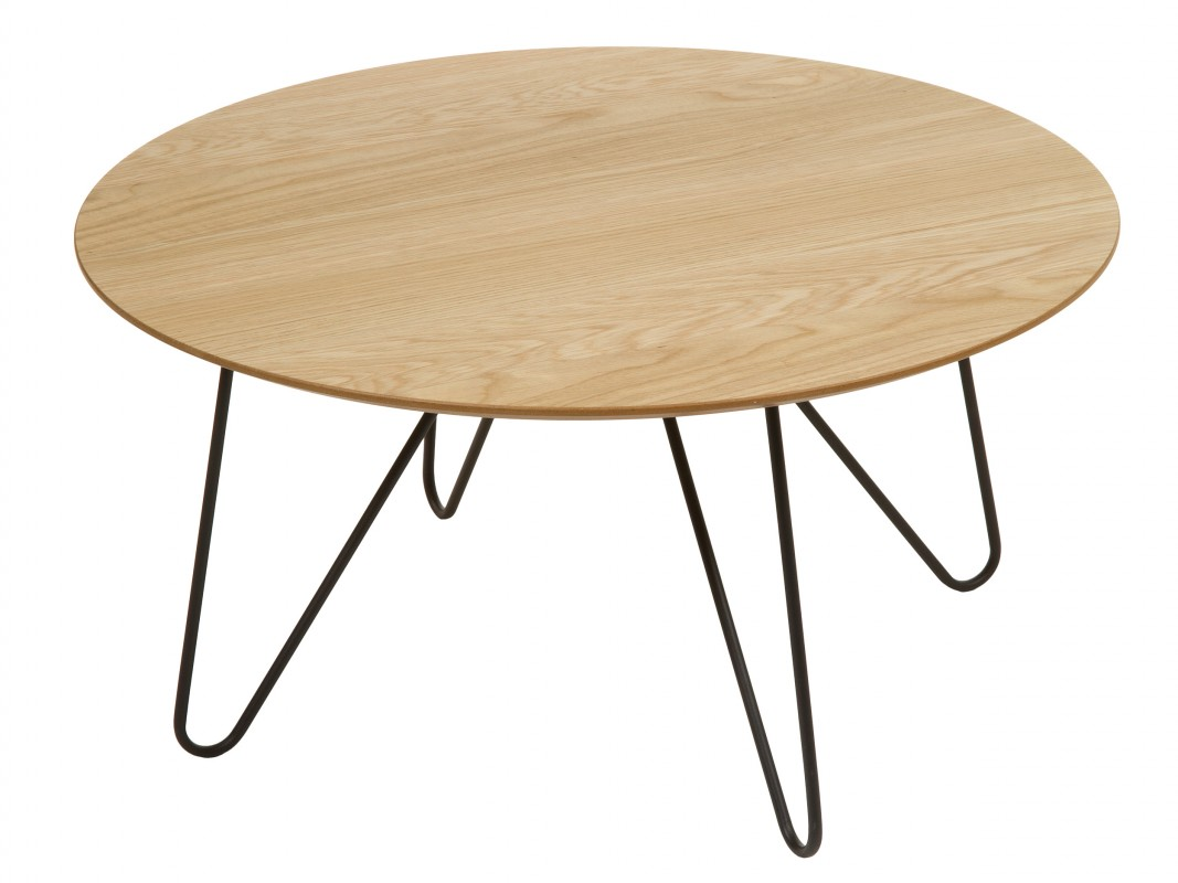 Mesa de centro redonda de madera y metal para sala de estar - Mesa centro redonda ...