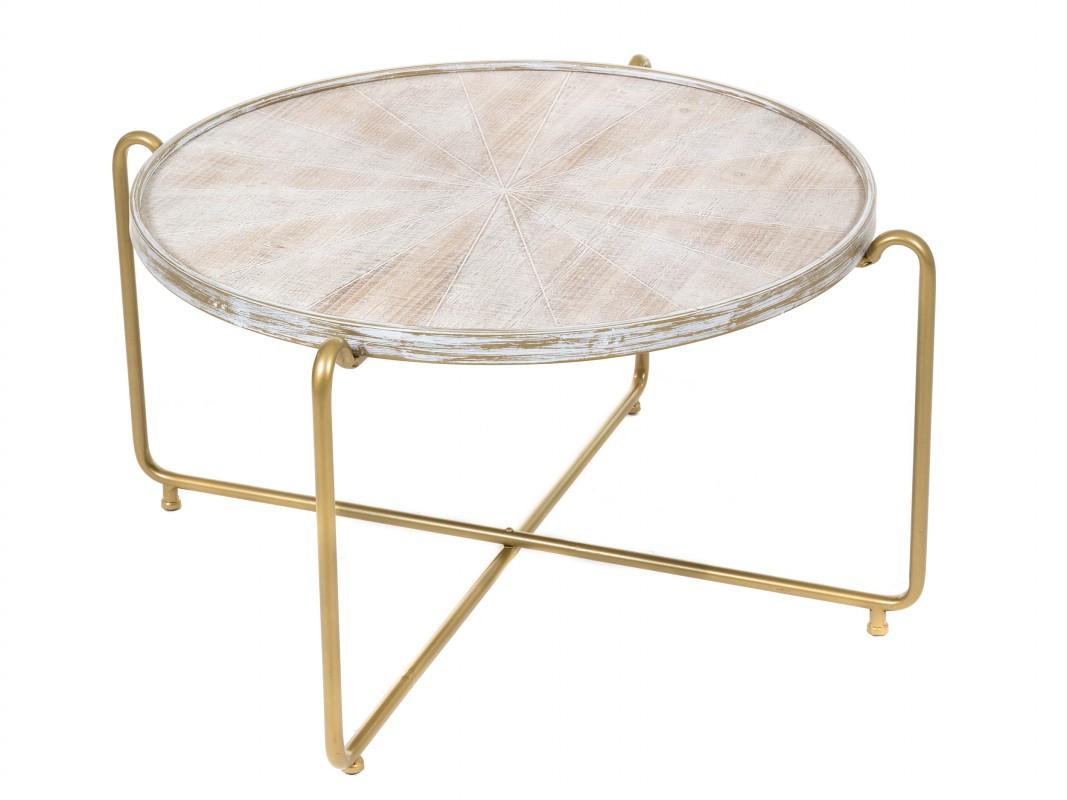 Mesa de centro redonda con patas de forja doradas - Patas para mesas redondas ...