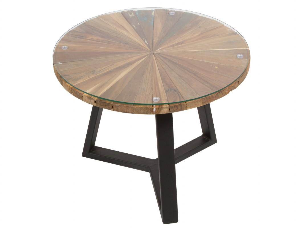 Mesa de centro redonda de madera metal y cristal for Mesas redondas pequenas