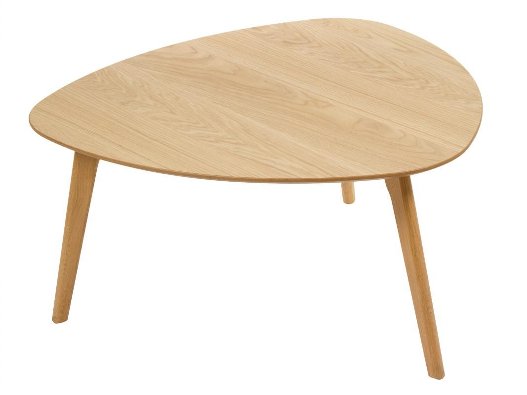 Mesa de centro triangular ovalada color roble - Mesa de centro ovalada ...